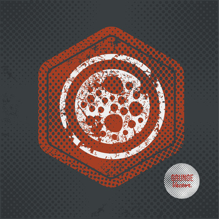 mitosis: Cell,stamp design on old dark background,grunge concept,vector