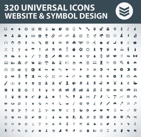 320 のアイコンを設定します。普遍的なアイコンを設定、ウェブサイトとシンボルのデザイン アイコン、ベクトルはきれい