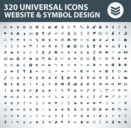 320 Icon set. Universal Icon set,Website and symbol design icons,clean vector
