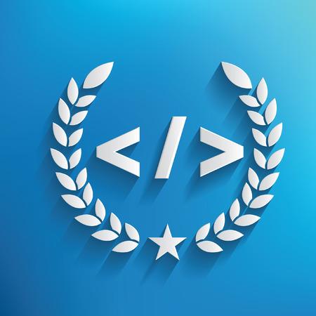 Coding symbol on blue background,clean vector Illustration