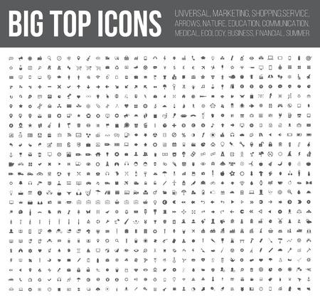 Iconos Big Top, negocios, finanzas, industria, medicina, y el sitio web conjunto de iconos, vector limpia
