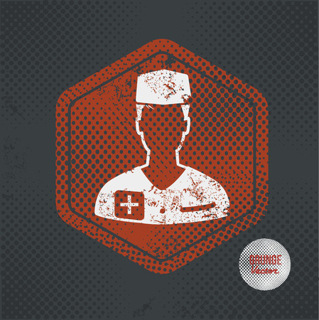 emergence: Doctor,stamp design on old dark background,grunge concept,vector