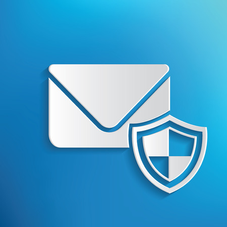 emails: Email security symbol on blue background,clean vector