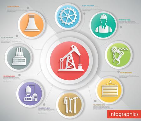 taladro: Diseño de la industria petrolera, información concepto gráfico, vector limpia Vectores