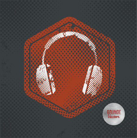Earphone,stamp design on old dark background,grunge concept,vector