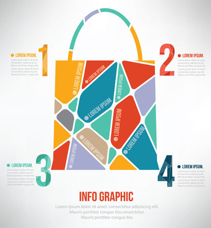 Shopping bag puzzle info graphic design,clean vector