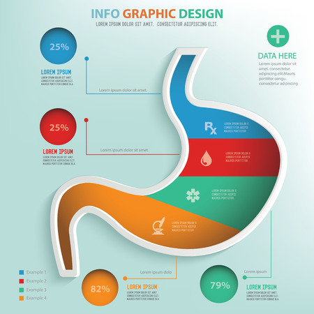 digestive disorder: Stomach puzzle info graphic design,clean vector Illustration