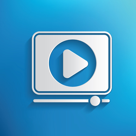 Video play symbol on blue background,clean vector