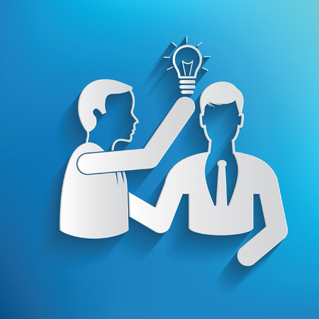 business education: Idea,human resource design on blue background,clean vector