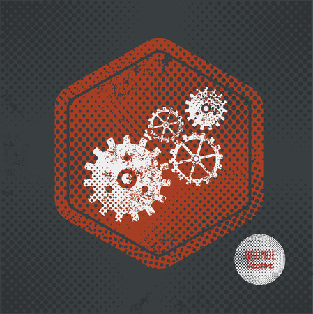 gear: Gear,stamp design on old dark background,grunge concept,vector
