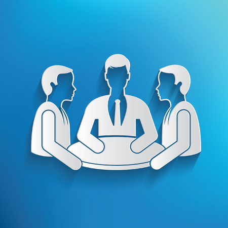 recruit suit: Teamwork,human resource design on blue background,clean vector Illustration