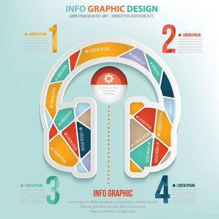 earphone: Earphone puzzle info graphic design,clean vector Illustration