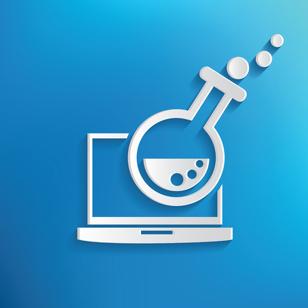 delineation: Research design icon on blue background,clean vector