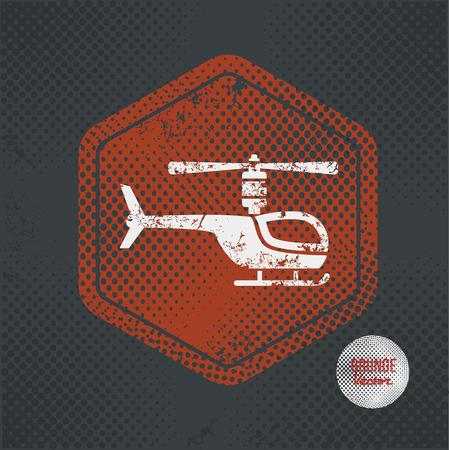 transposition: Helicopter,stamp design on old dark background
