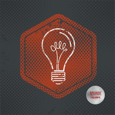 old stamp: Light bulb,stamp design on old dark background,grunge concept,vector