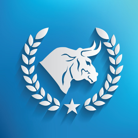 big breast: Bull symbol on blue background Illustration