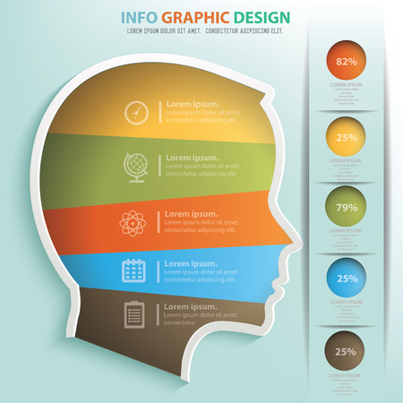 rationality: Head info graphic design Illustration