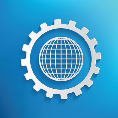 global: Global service symbol on blue background