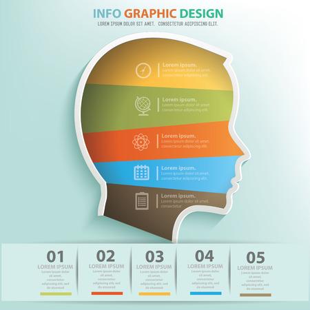 Head info graphic design Vectores