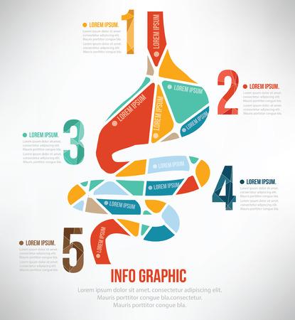 dolor de estomago: Estómago info rompecabezas diseño gráfico Vectores