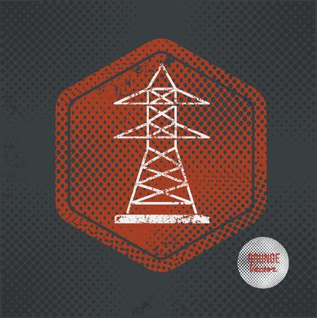 telegraph: Electricity,stamp design on old dark background,grunge concept