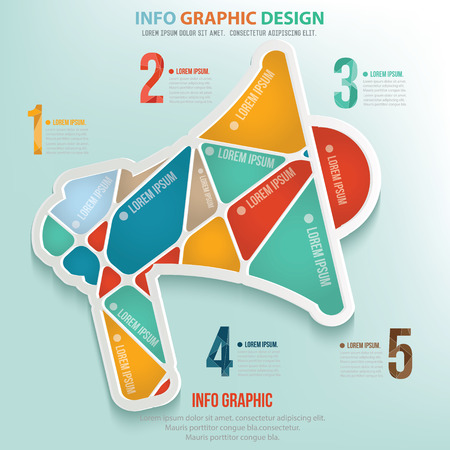 megaphone icon: Megaphone info graphic design, Business concept design. Clean vector.