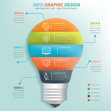 white light: Light bulb info graphic design, Business concept design. Clean vector.