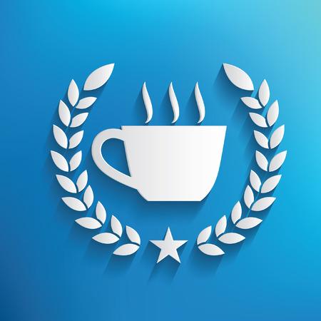 sip: S�mbolo de caf� sobre fondo azul, limpio vector