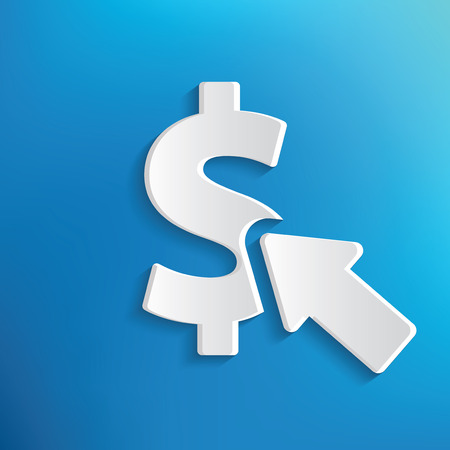 checking account: Dollar checking concept on blue background,clean vector