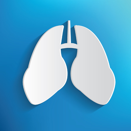 respiratory protection: Lung design on blue background,clean vector Illustration
