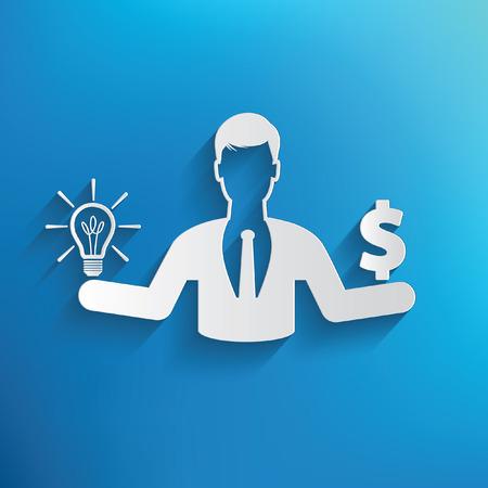 bestechung: Idee und Geld, Personal Design auf blauem Hintergrund, saubere Vektor