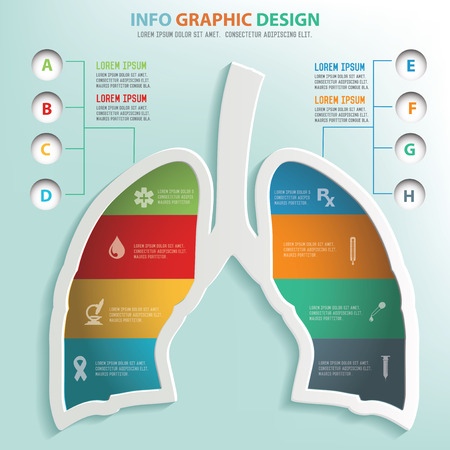 Lung puzzle info graphic design,clean vector Illustration