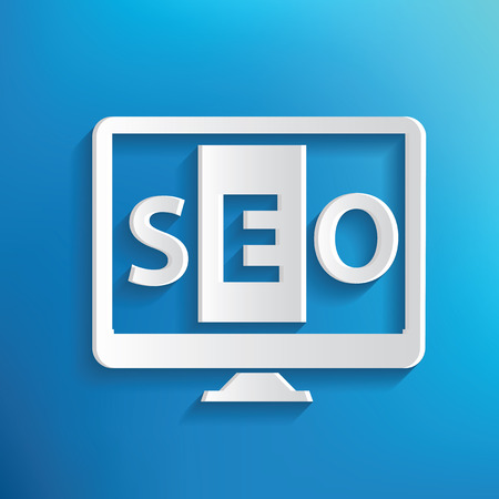 optimizing: SEO symbol on blue background,clean vector
