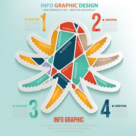 Squid puzzle info graphic design,clean vector Illustration