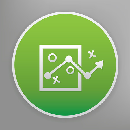 choose a path: Strategy design icon on green button,clean vector