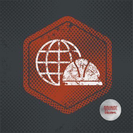 old mercury: Global,stamp design on old dark background,grunge concept,vector