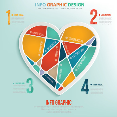heart puzzle: Heart puzzle info graphic design,clean vector Illustration