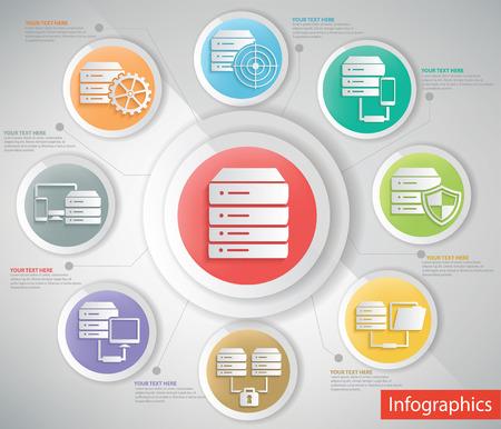 Database server info graphic design,clean vector