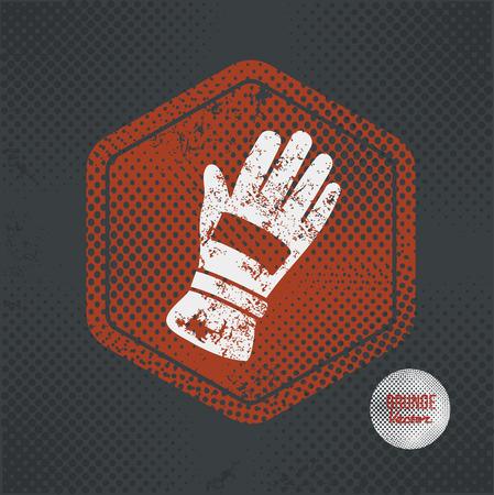 industrial safety: Glove,stamp design on old dark background,grunge concept,vector Illustration