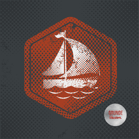 sailer: Ship,stamp design on old dark background,grunge concept,vector