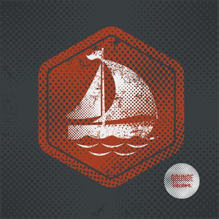 tallship: Ship,stamp design on old dark background,grunge concept,vector