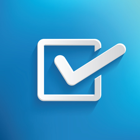 quadrate pictogram: Checking design on blue background,clean vector