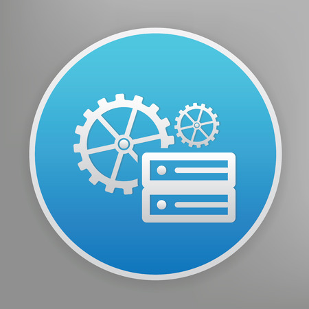 clean off: Database design icon on blue button,clean vector