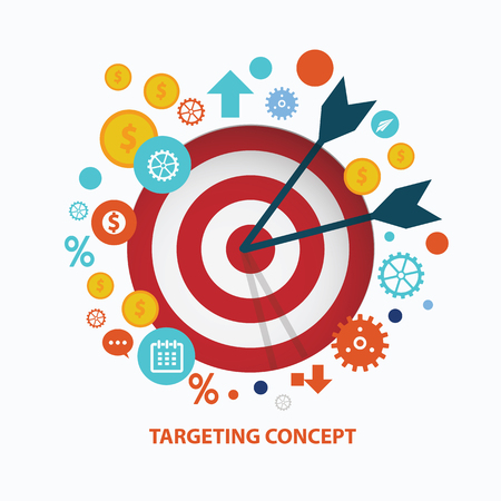 dart on target: Targeting concept design on white background,clean vector Illustration
