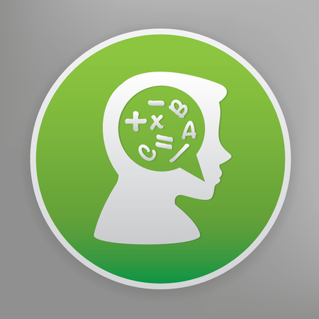 rationality: Brain storm design icon on green button, clean vector