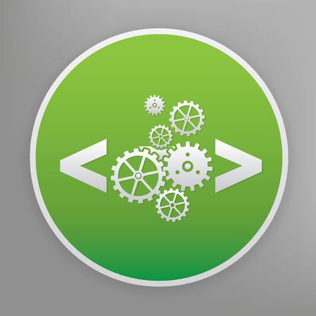 metadata: Coding design icon on green button, clean vector