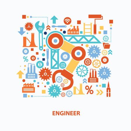 白い背景に、きれいなベクトルにエンジニアのコンセプト デザイン