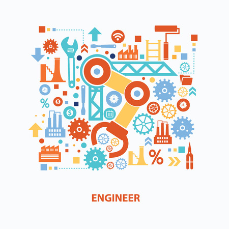 Engineer concept design on white background,clean vector Illustration