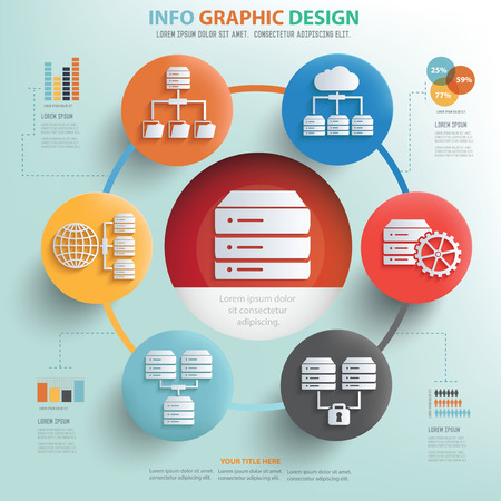 cloud search: Networking and database concept info graphic design, Business concept design.