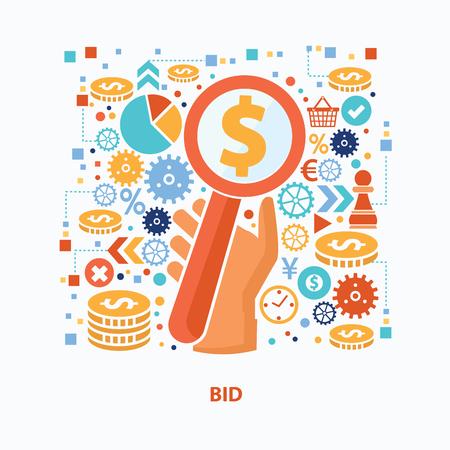 bid: dise�o de concepto una oferta sobre fondo blanco, limpio vector